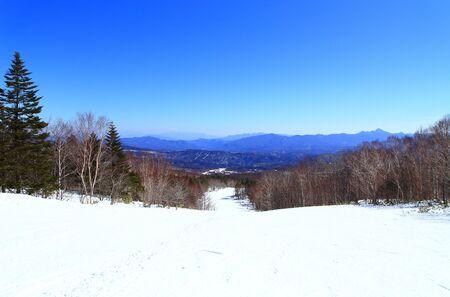 Snowy winter landscape in ski resort 写真素材