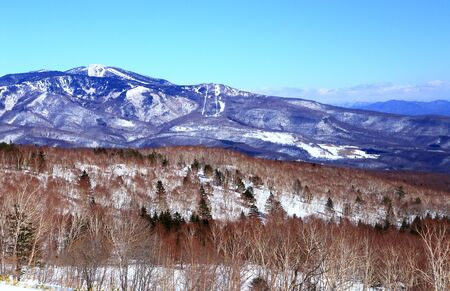 Snowy winter landscape of a ski resort