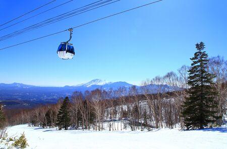 Winter ski resort with gondola lift