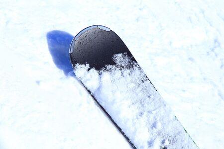 Black ski on fresh powder snow 写真素材