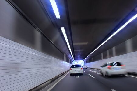 Car traffic in tunnel Stock Photo
