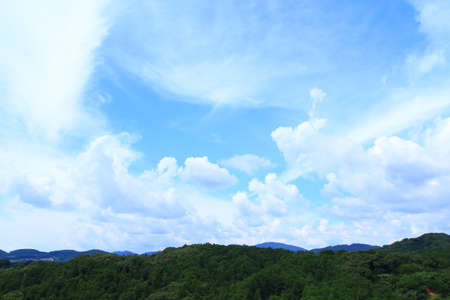 White clouds on blue sky