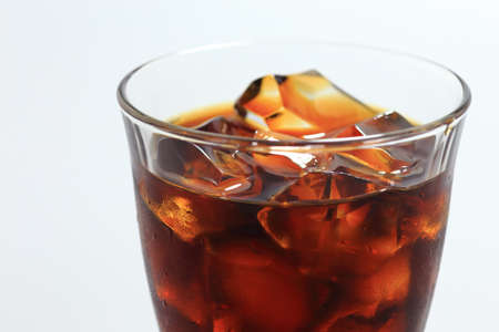 Iced coffee with ice cubes