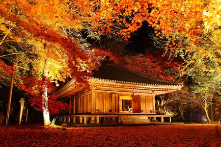 light up: Autumn colors light up the temple Stock Photo
