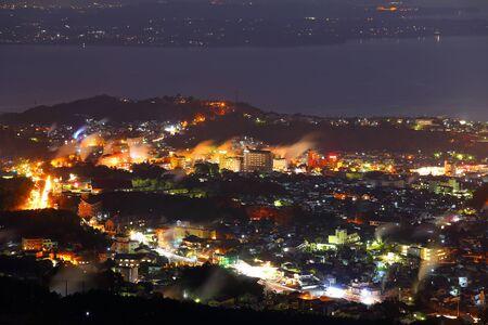 別府の蒸気夜景 写真素材