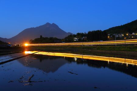 light traces: Train light traces of yufuin