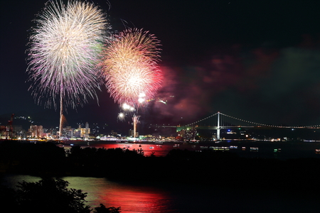 strait: Fireworks of the kanmon Strait Stock Photo