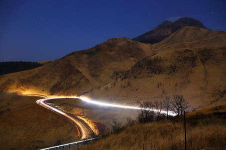 light traces: Light traces of yufu-Dake and the car