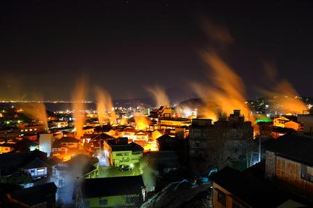 nightscape: The steam nightscape of Beppu Stock Photo