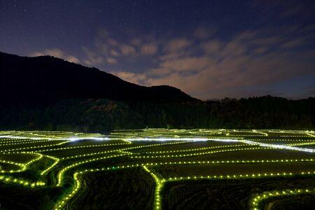 lightup: Light-up of rice field Stock Photo