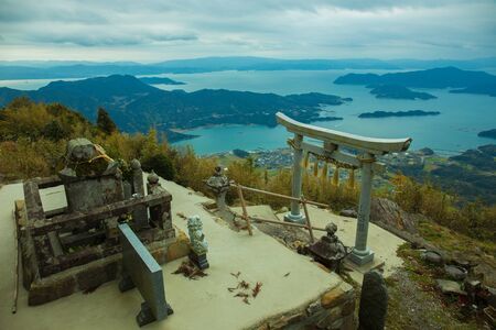 Torii at the top of the mountain Stock Photo