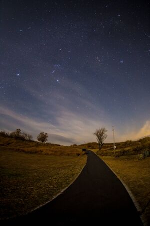 Starry sky at the top of the mountain