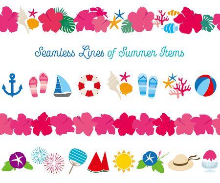 Hand drawn Seamless line of Summer items 일러스트
