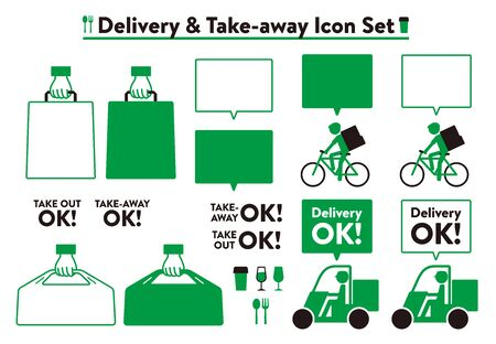 Delivery & take-away icon set