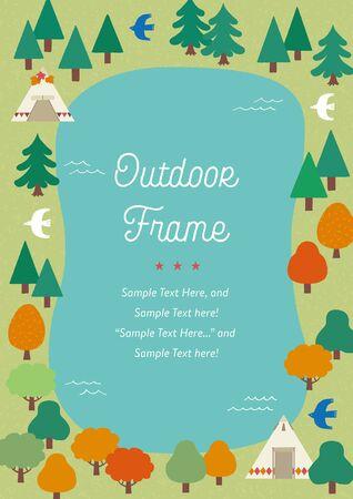 Hand-drawn outdoor frames of forest and lake Ilustração