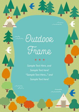 Hand-drawn outdoor frames of forest and lake Illustration