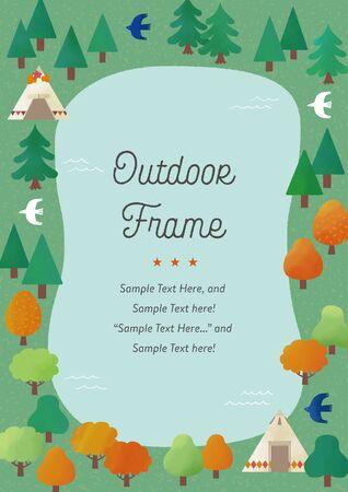 Autumn Forest and Lake Watercolor Frame Ilustração