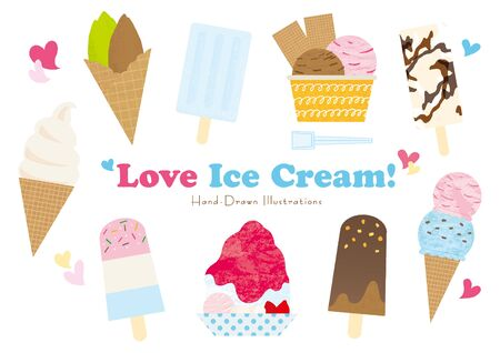 Illustration set of ice cream and shaved ice