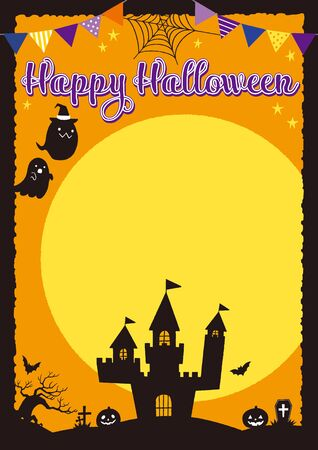 Cute Halloween frames with hand drawn illustrations