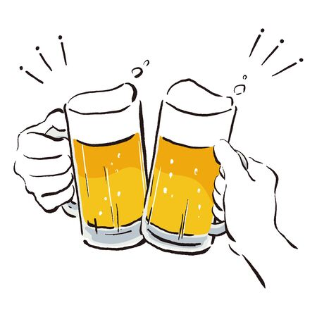 Illustration of make a toast with a beer mug  イラスト・ベクター素材