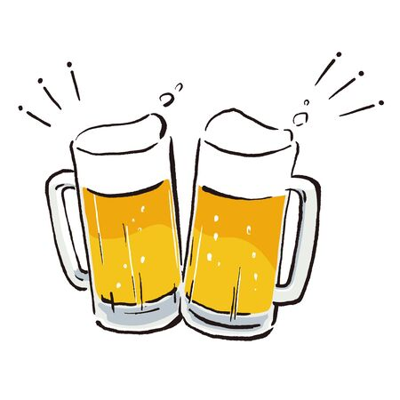 Illustration of make a toast with beer mugs