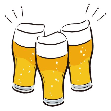 Illustration of make a toast with beer glass