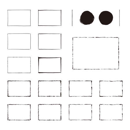 Set of frames drawn with ink / Horizonal position Vector Illustration
