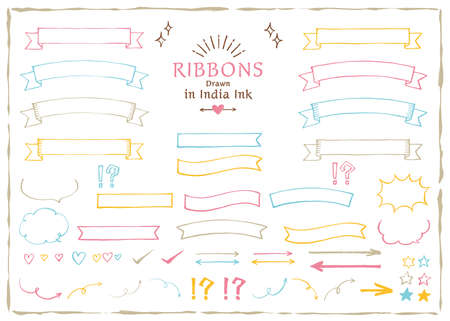 Ribbons drawn in India ink / Colorful line