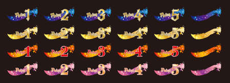 Magical-looking point icon set / Black Background 向量圖像
