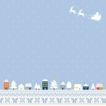 Illustration of a Christmas cityscape with a blue gray Nordic pattern background