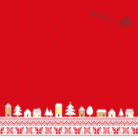 Illustration of a Christmas cityscape with a red Nordic pattern background