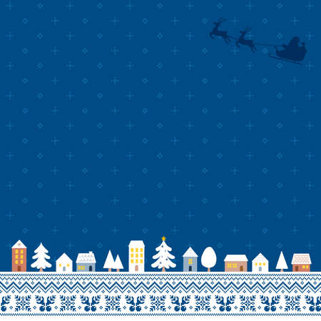 Illustration of a Christmas cityscape with a blue Nordic pattern background