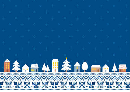 Illustration of a Christmas cityscape with a navy Nordic pattern background