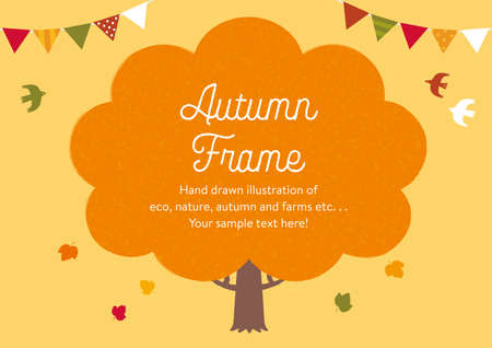 Cute hand-painted autumn frame illustration