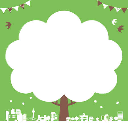 Ecological background illustration of trees and cityscape