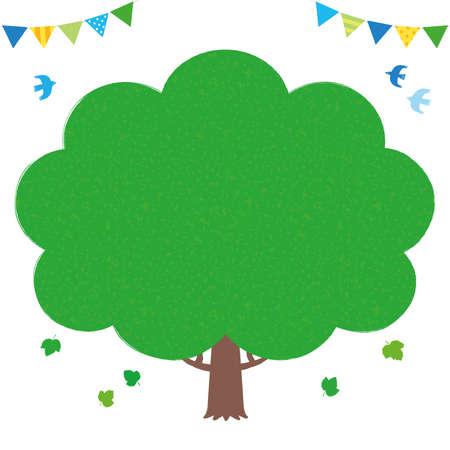 Ecologic hand-painted illustration frame of a tree. / white background