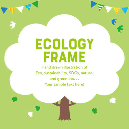 Ecological hand-painted illustration frame of a tree