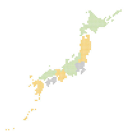 Map of Japan divided into eight regions with square dots / Three colors