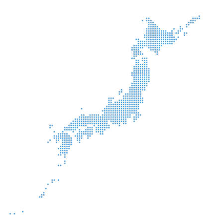 """Map of Japan made of square dots with rounded corners. """"blue"""" Ilustración de vector"""