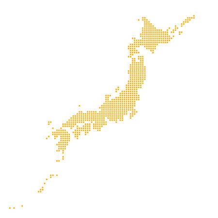 """Map of Japan made of square dots with rounded corners. """"orange"""""""