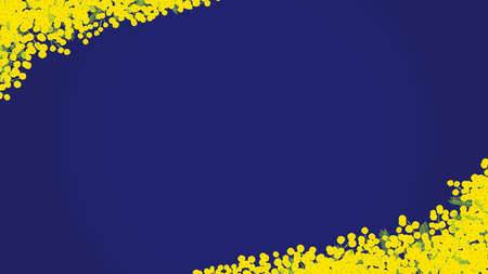 """Mimosa hand drawn vector frame. """"navy blue background"""""""