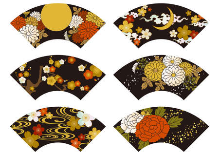 Fan-shaped traditional Japanese pattern illustration of lacquer ware, maki-e and mother-of-pearl inlay