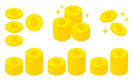 Illustration set of coins with the dollar symbol Vektoros illusztráció