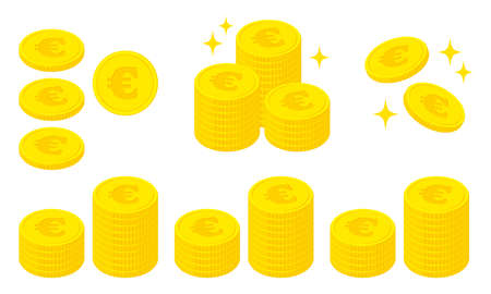 Illustration set of coins with the euro symbol