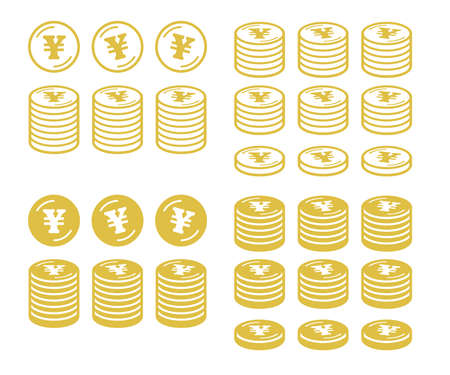 Icon set of coins with the yen symbol