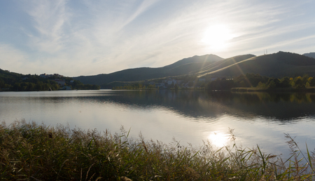 highlands region: Lake afternoon sun is reflected. Stock Photo