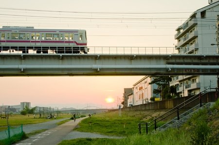 sunset and train