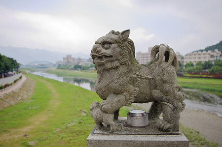 Old Foo lion sculpture in China Banco de Imagens