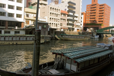 sumida ward: Houseboat of Japan floating in the river Editorial