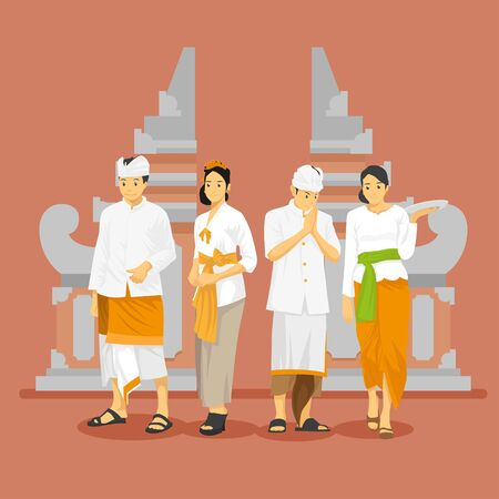Balinese Traditional Attire with Gate Background